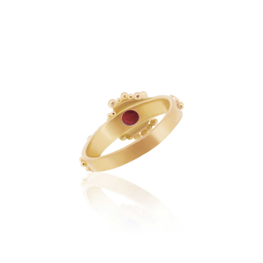 22K, Rubellite - Back of Tourmaline and Diamond Granulated Ring - Nancy Troske Jewelry