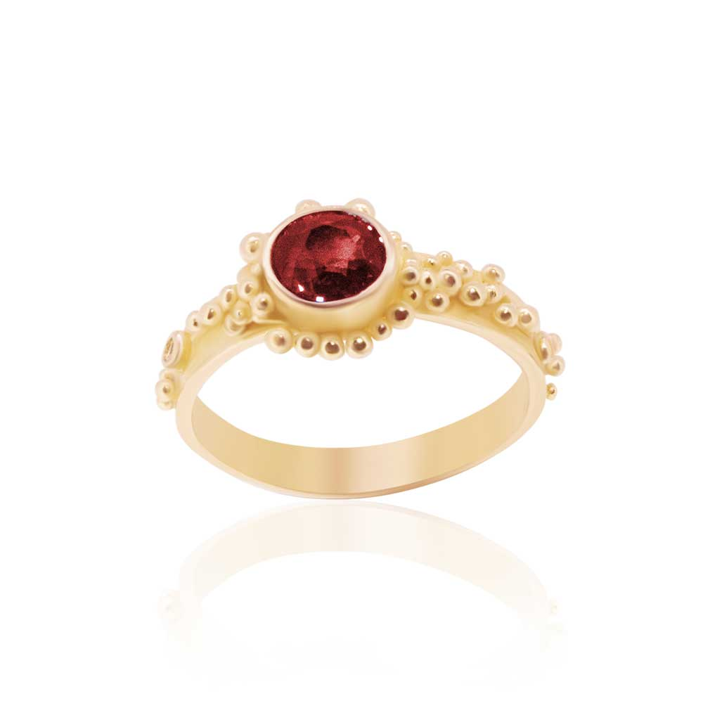 22K, Rubellite Tourmaline and Diamond Granulated Ring - Nancy Troske Jewelry