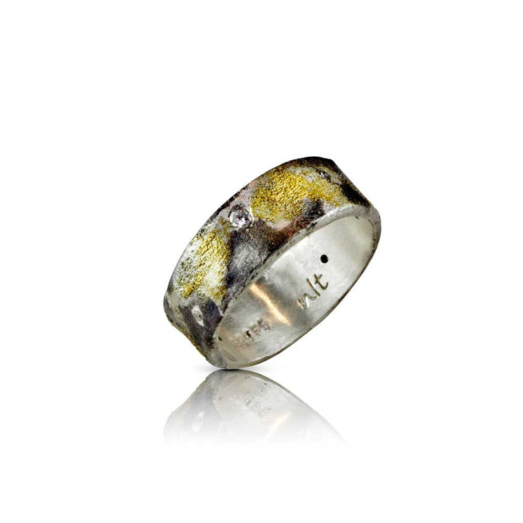Nancy Troske Jewelry - Black Sand Ring - Diamond, Gold and Silver Ring