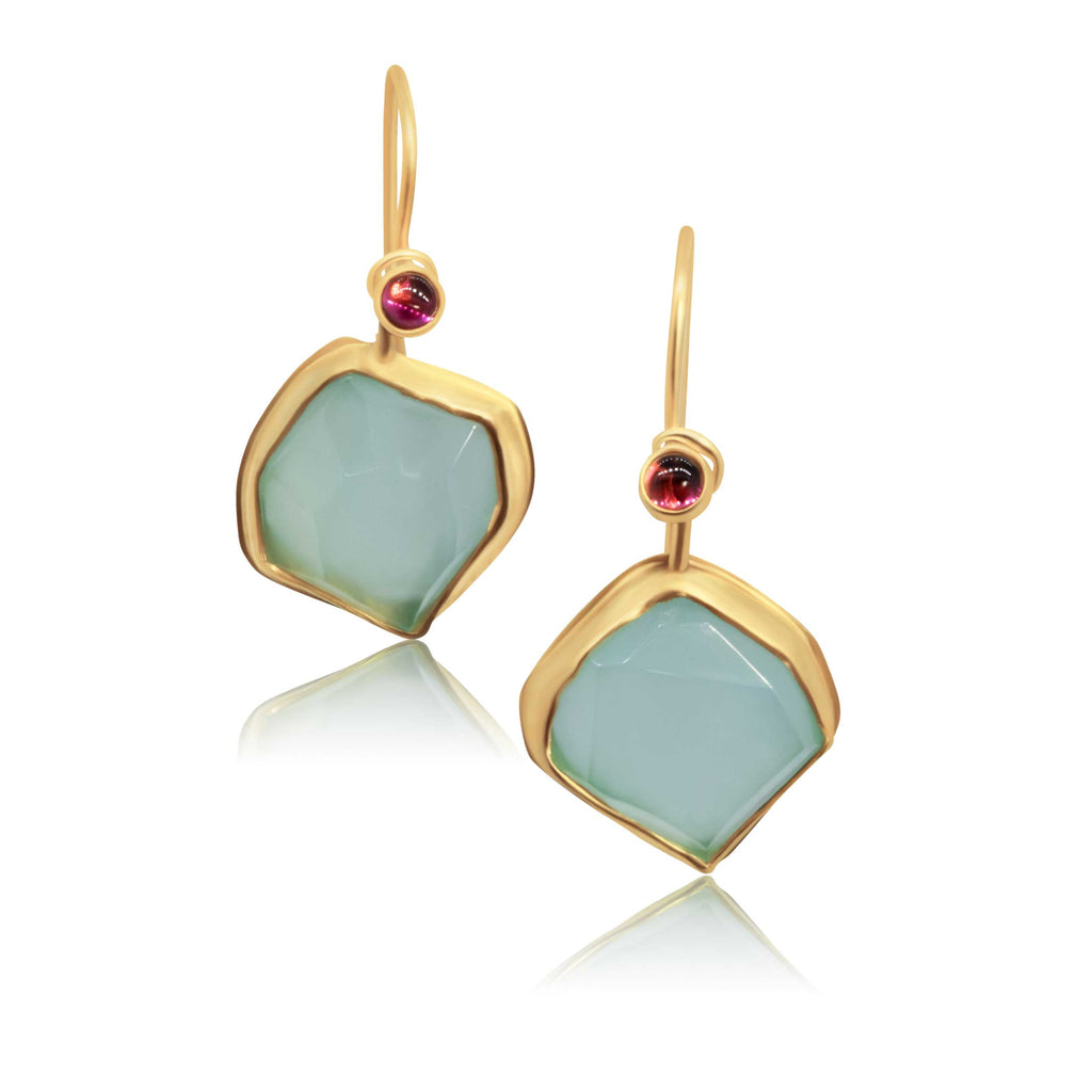 22k, tourmaline and chalcedony earrings - Nancy Troske Jewelry