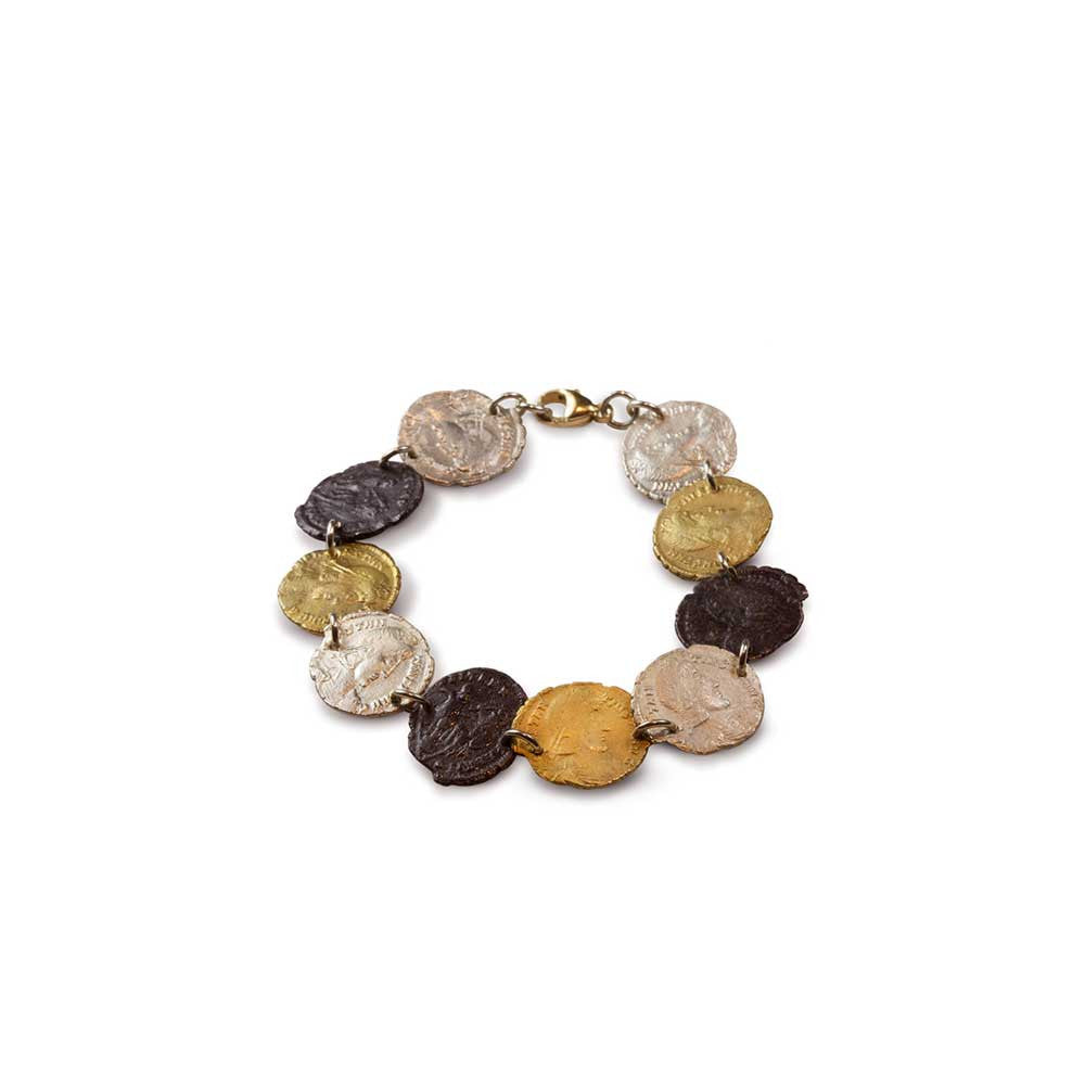 Roman Coin Single Row Bracelet - Nancy Troske Jewelry