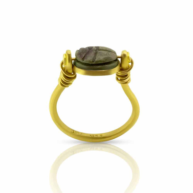 Authentic Egyptian Scarab Ring in 22K gold - Nancy Troske Jewelry