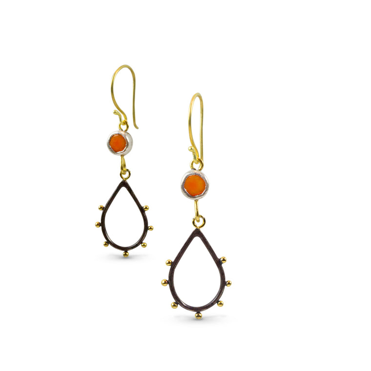 Nancy Troske Jewelry - 22K Gold and Silver Earromgs - black silver and fused gold earrings
