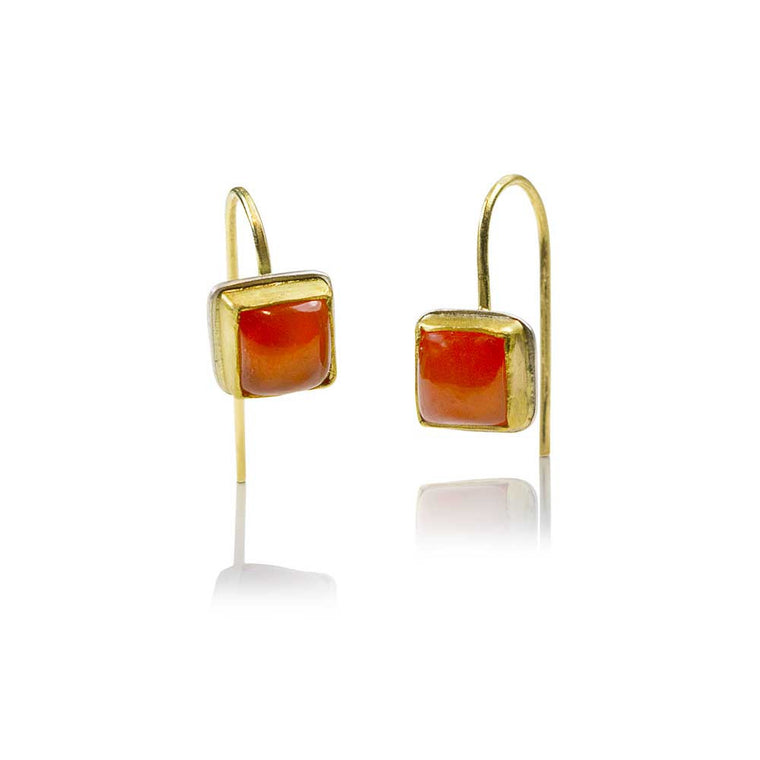 Carnelian Square Cut 22k Earrings - Nancy Troske Jewelry
