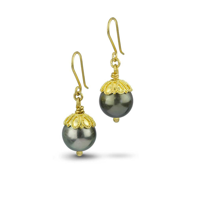 Black Tahitian Pearl and 22k Granulated Earrings - Nancy Troske Jewelry