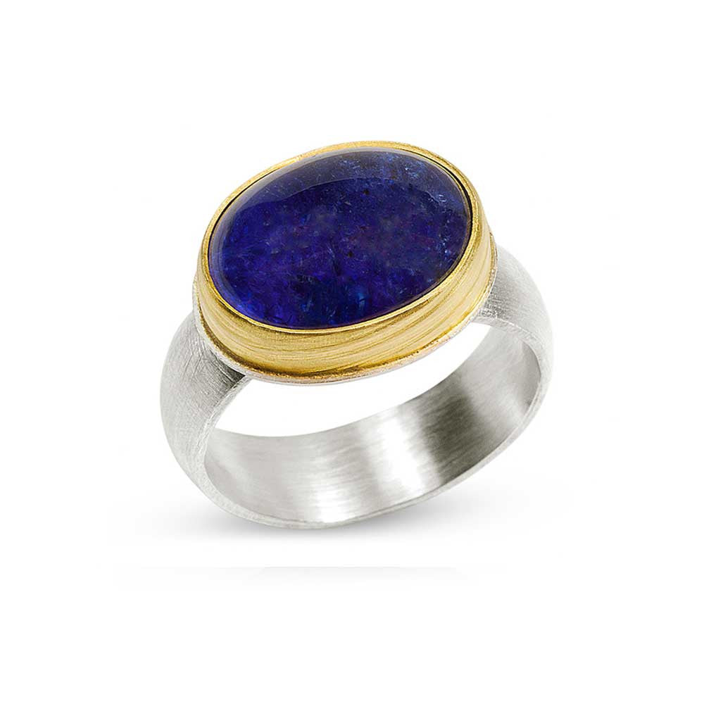 Tanzanite Cabochon Ring - Nancy Troske Jewelry