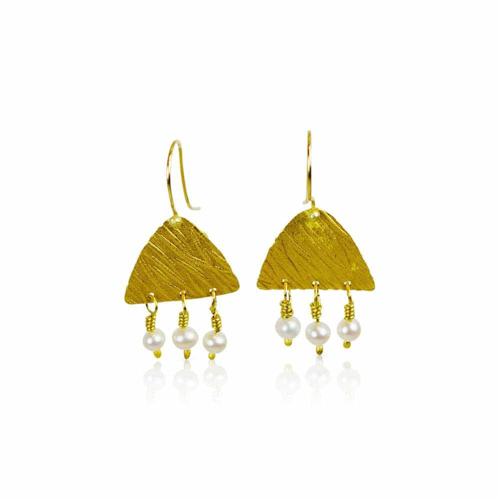 Golden Wheat & Pearl Earrings