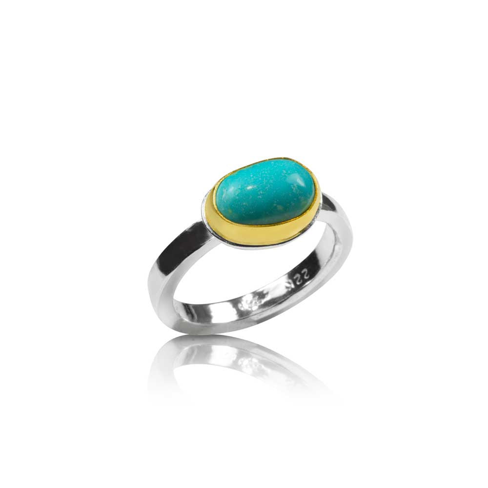 Oval Turquoise Ring on Square Band - Nancy Troske Jewelry