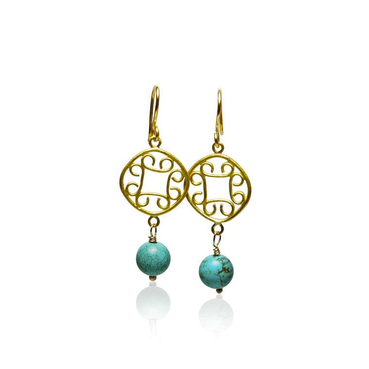 22k Gold and Turquoise Scroll Earrings