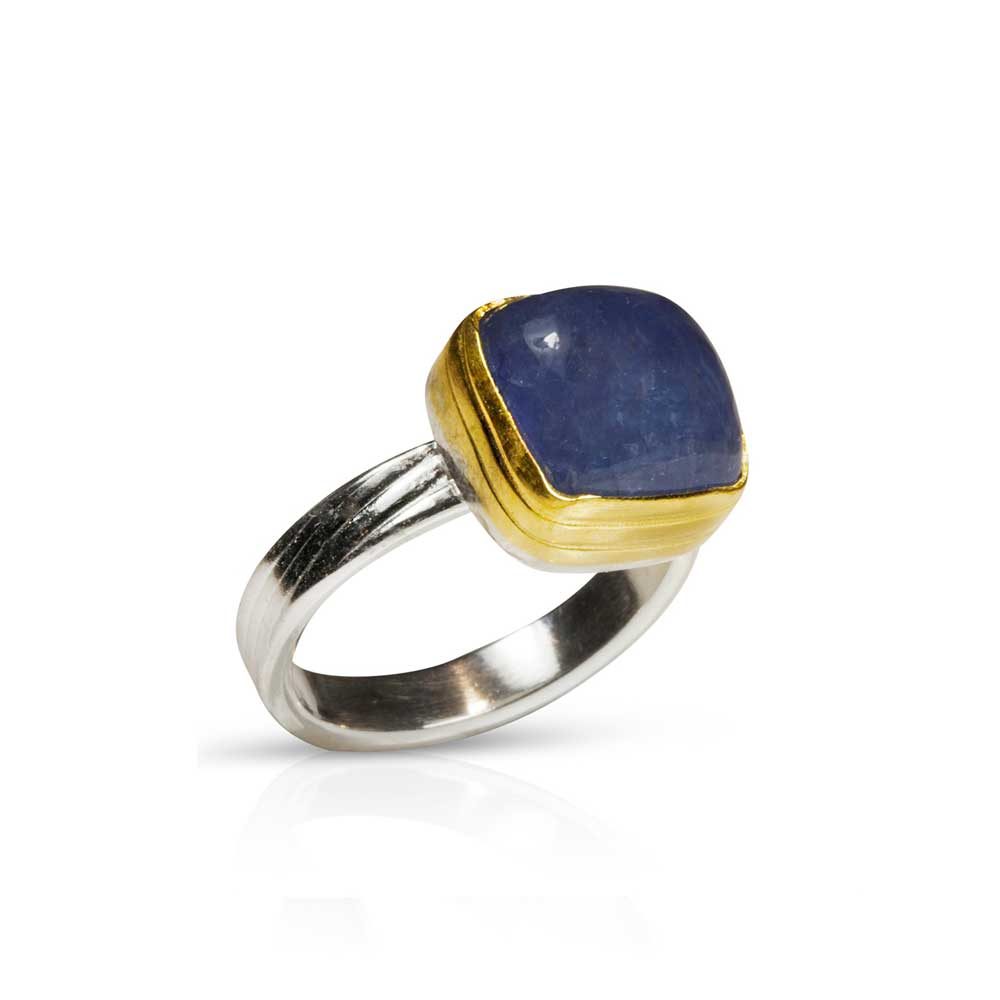 Nancy Troske Jewelry - Tanzanite and 22 karat gold ring on hand rolled fine silver band