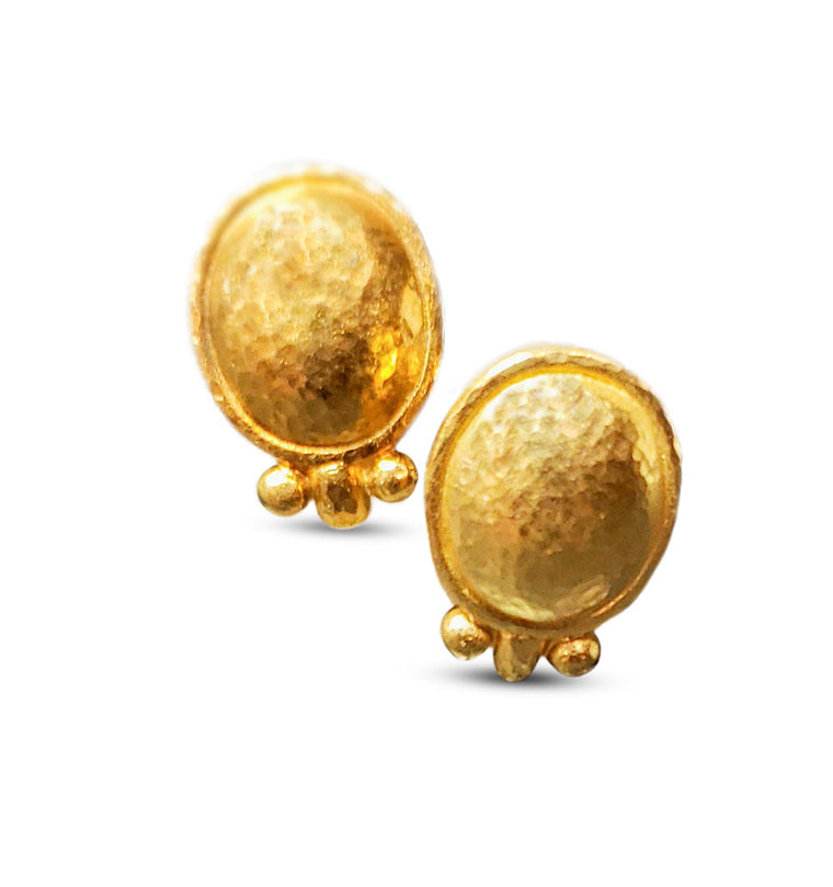 Golden Hammered Dome Earrings