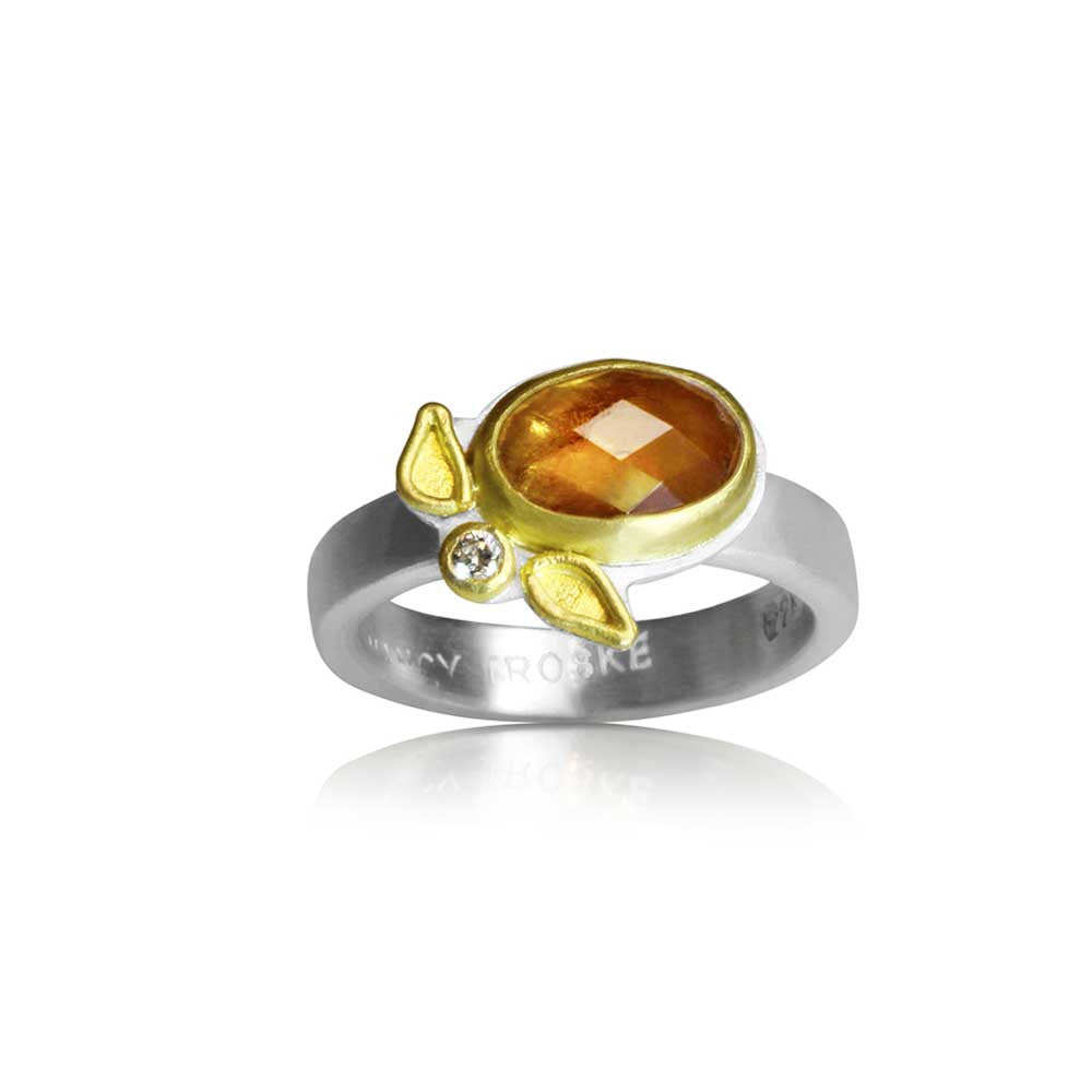 Yellow Sapphire and Diamond Ring - Nancy Troske Jewelry