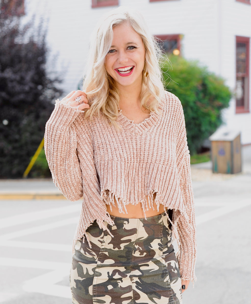 Tan Distressed V Neck Sweater