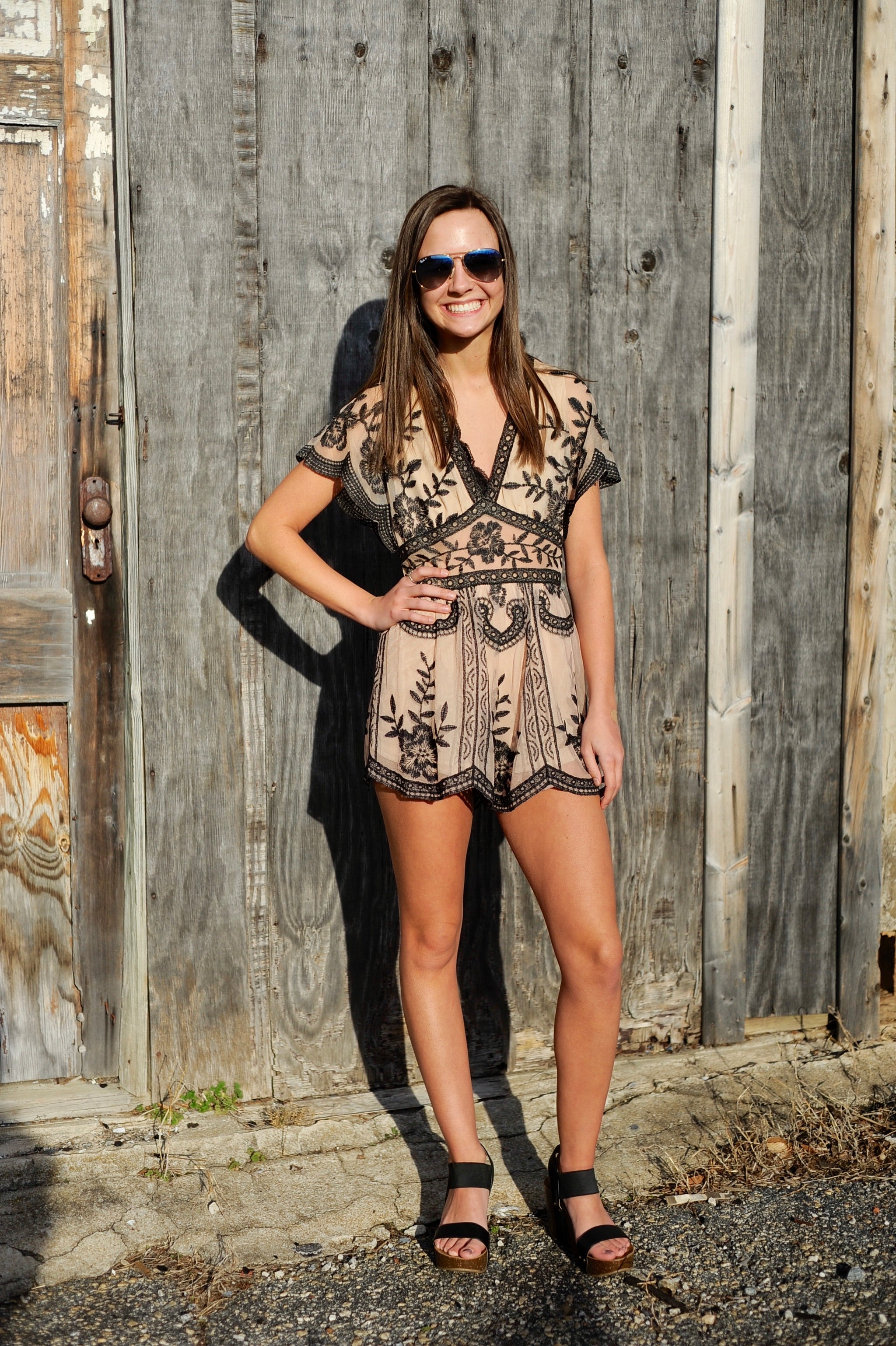 Short Sleeve Embroidered Lace Romper