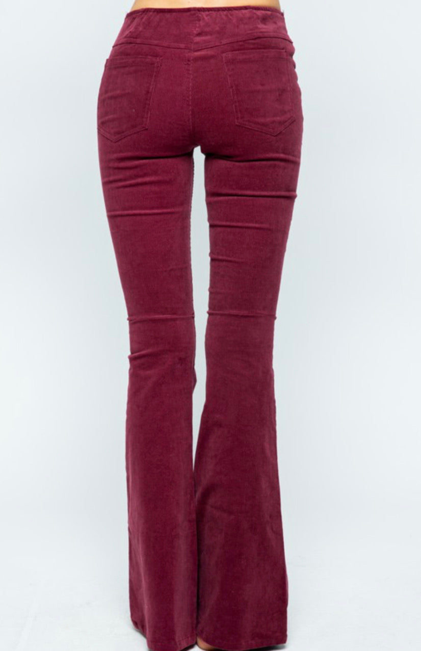 Wine Corduroy Flare Pants