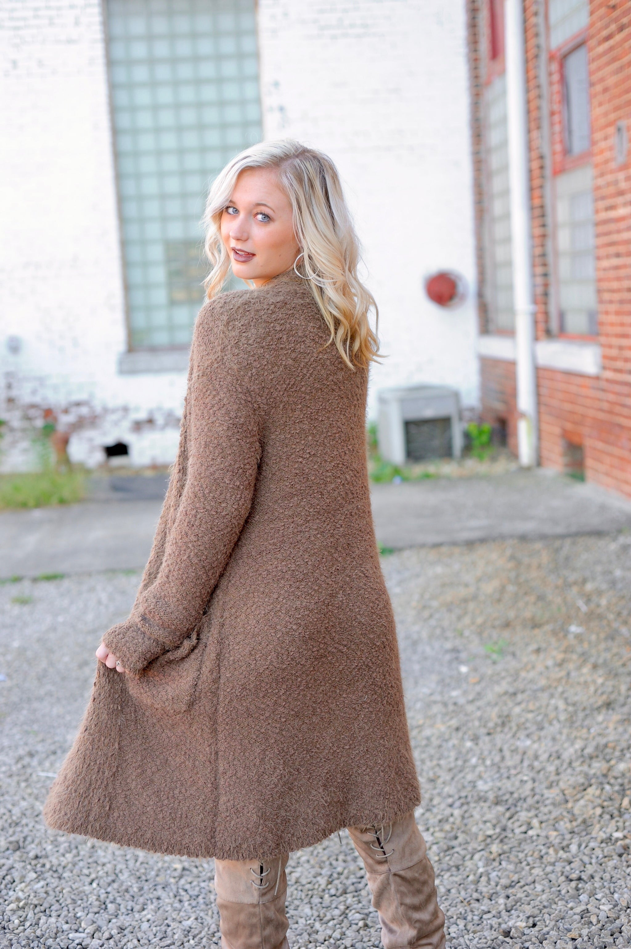 Popcorn Long Cardigan- Cocoa