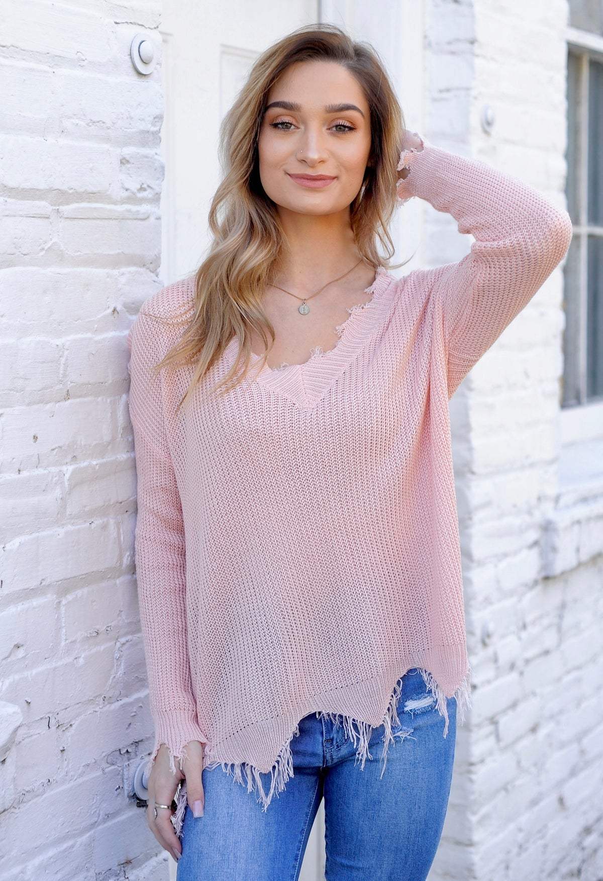 Light Weight Distressed Sweater - Pale Pink