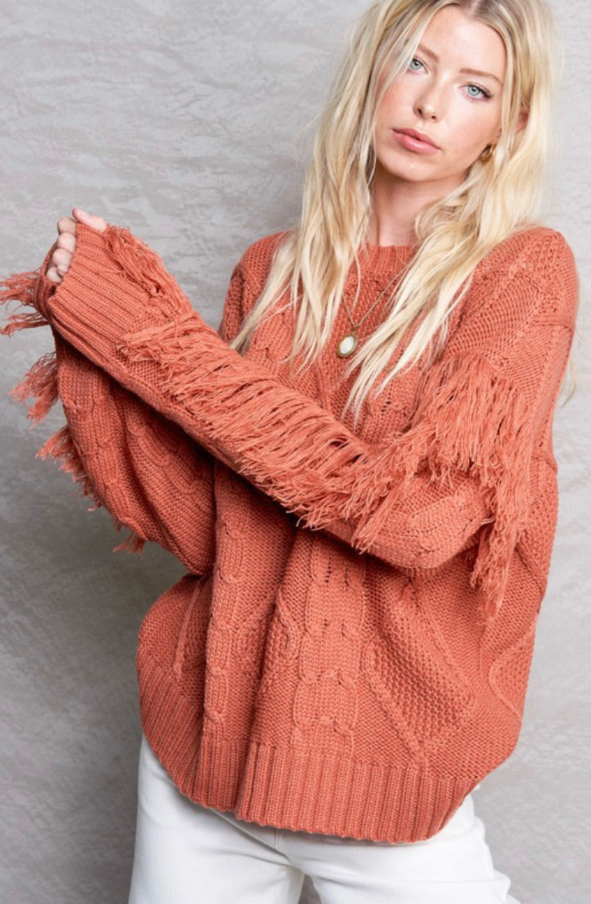 Rust Fringe Sweater