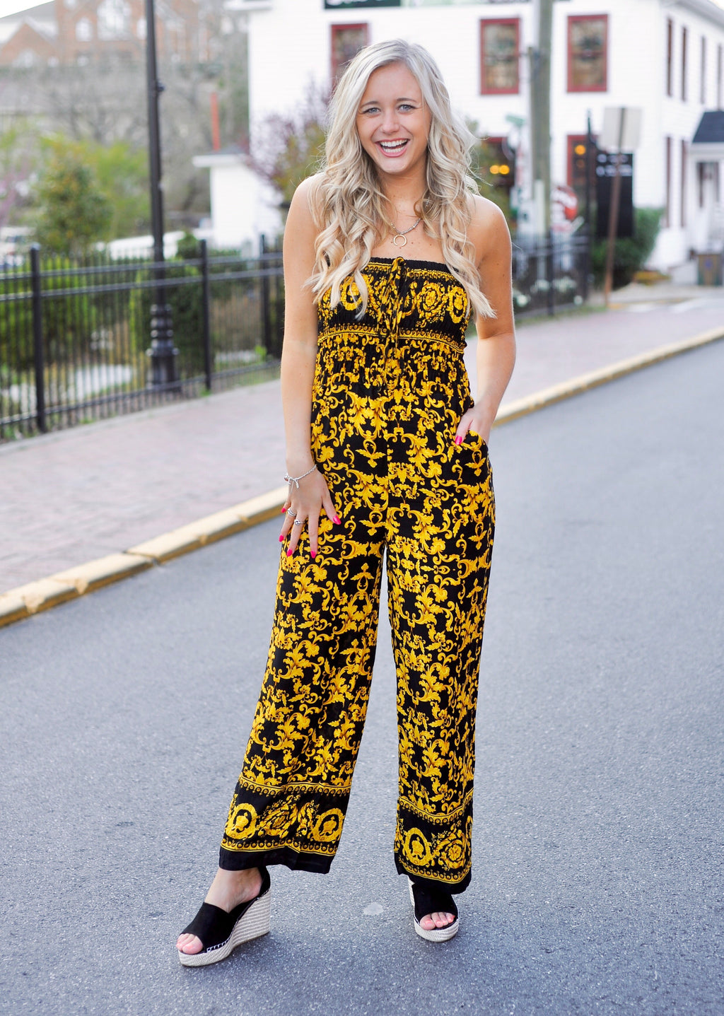 Printed Smocked Jumpsuit
