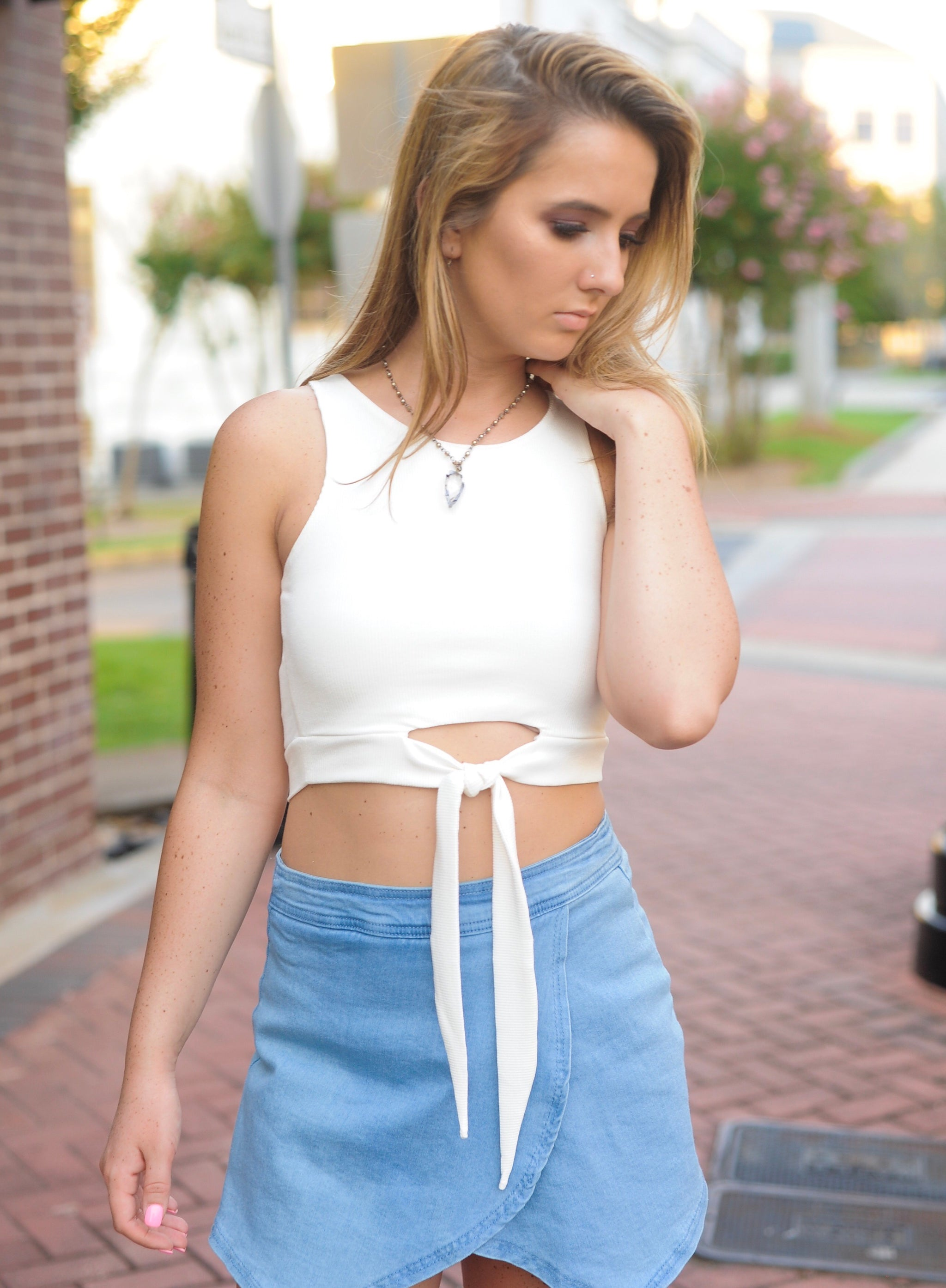 Cut Out Front Tie Crop Top