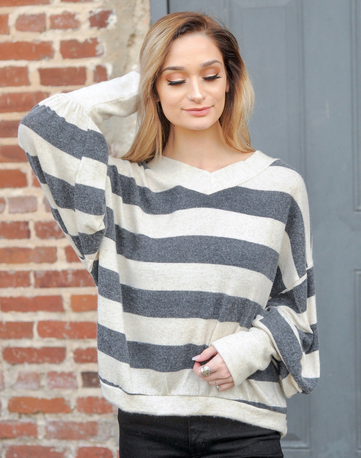 Oatmeal/Charcoal Striped Sweater