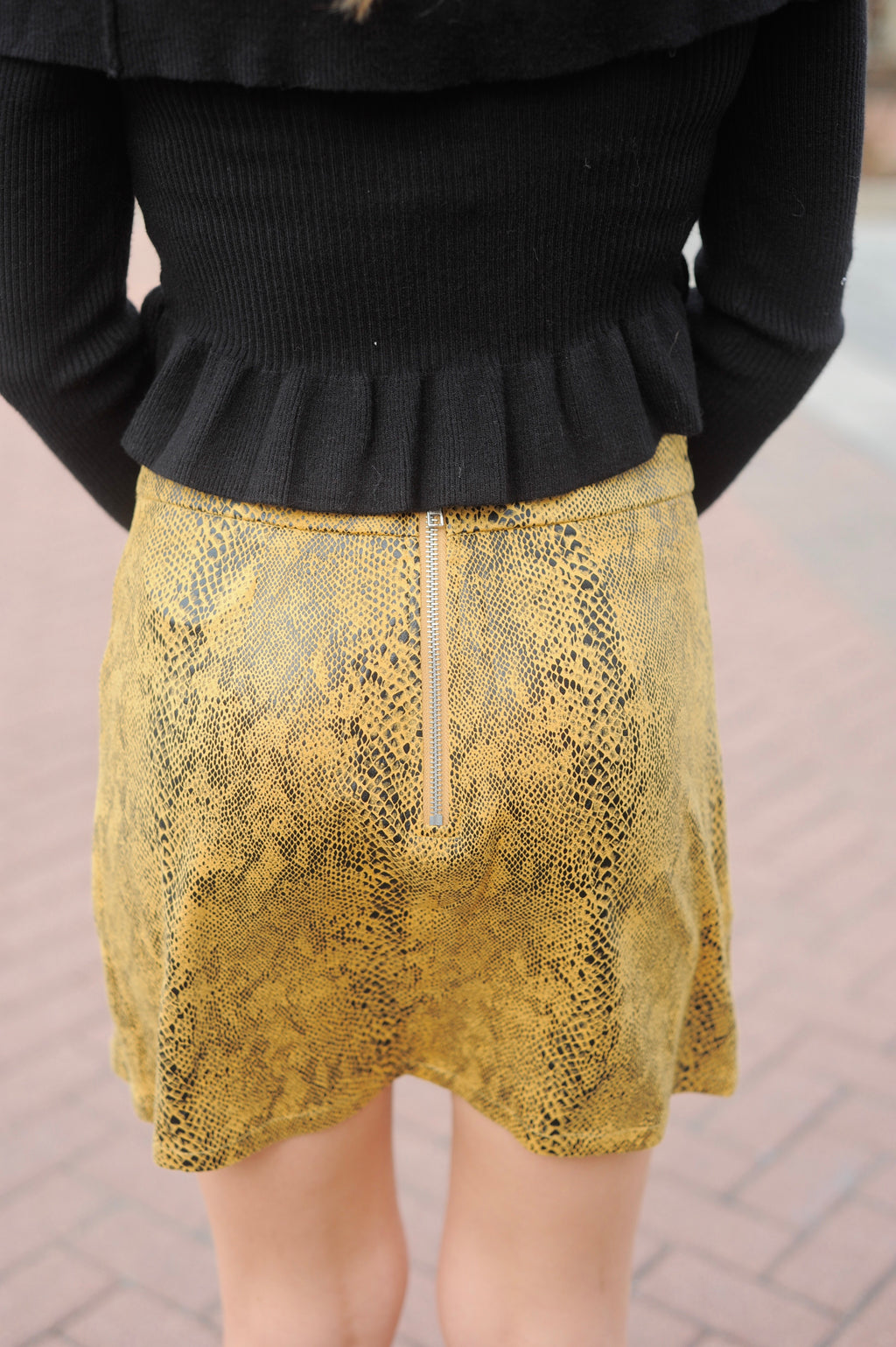 Yellow Snakeskin Mini Skirt