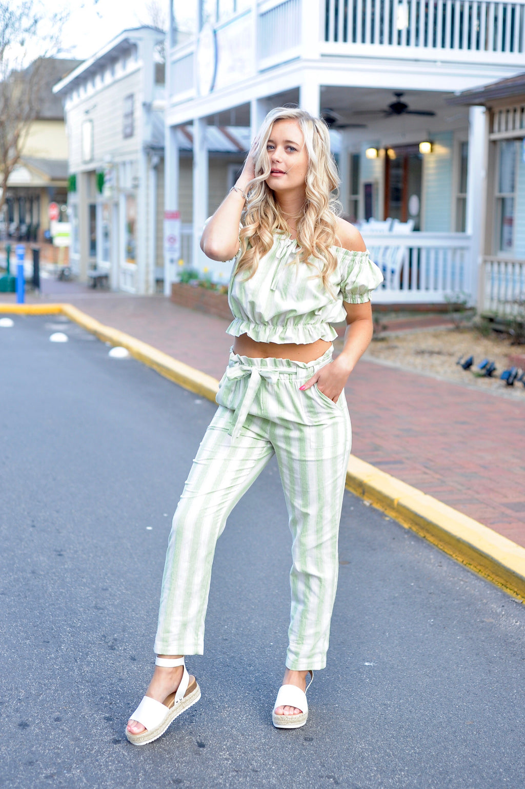 Green Striped Crop Top/ Pants Set