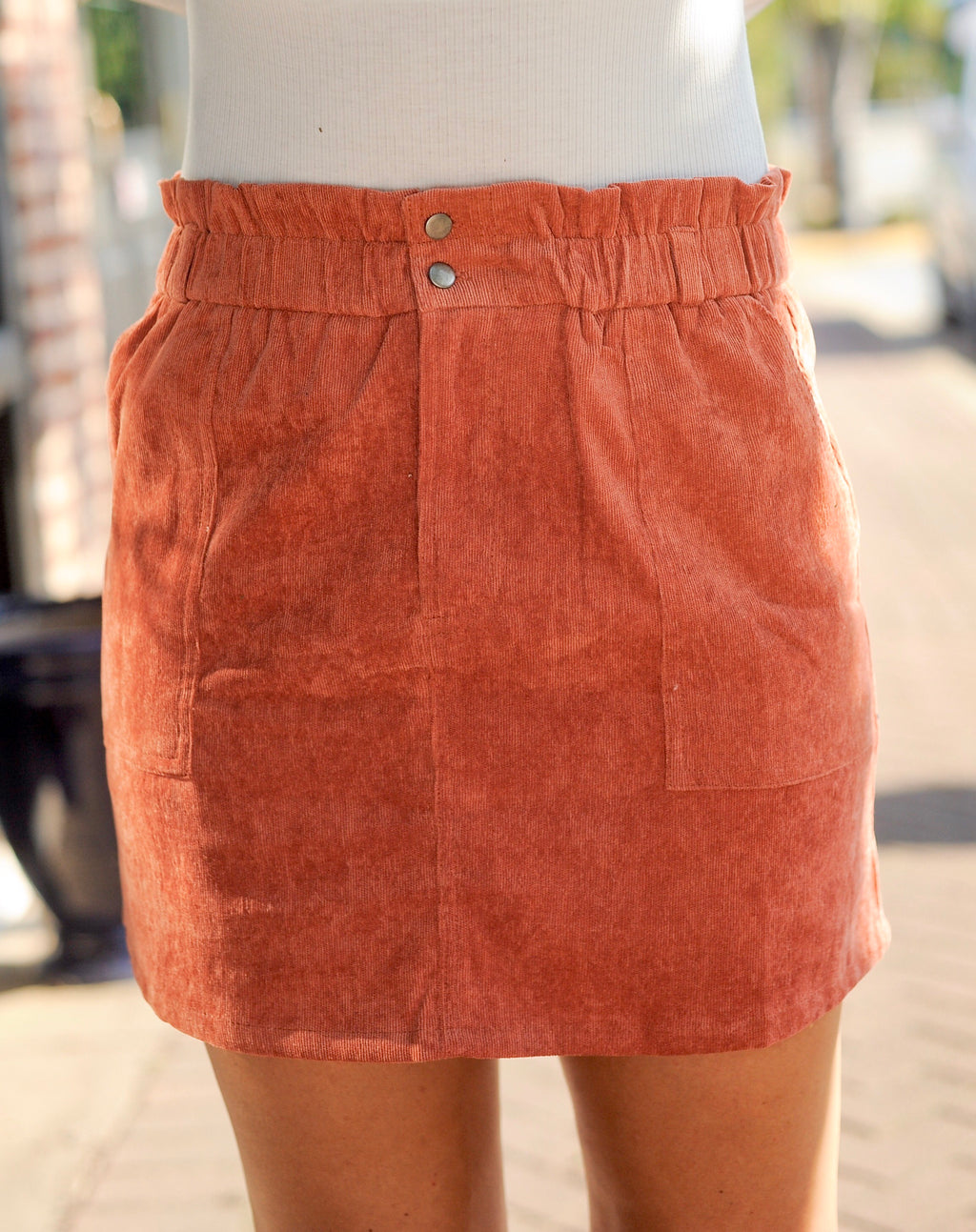 Ruched Corduroy Skirt - Burnt
