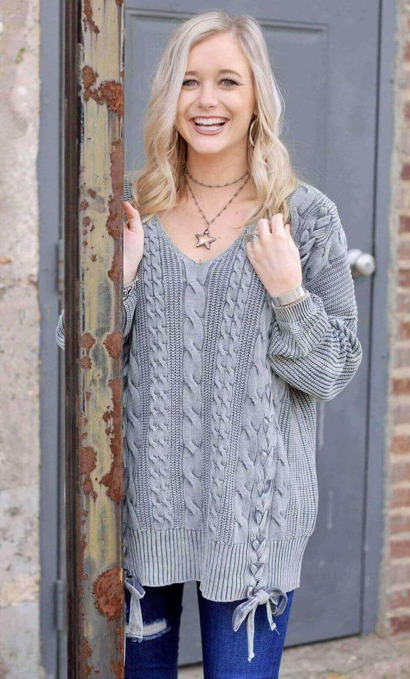 Stone Washed Cable Knit Sweater