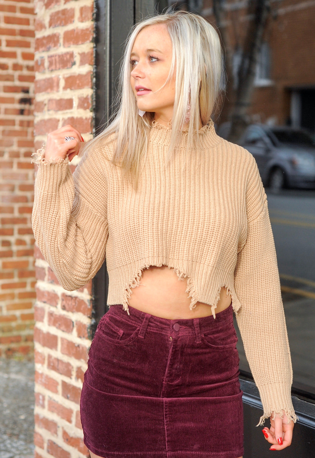 Distressed Knit Cropped Sweater - Taupe