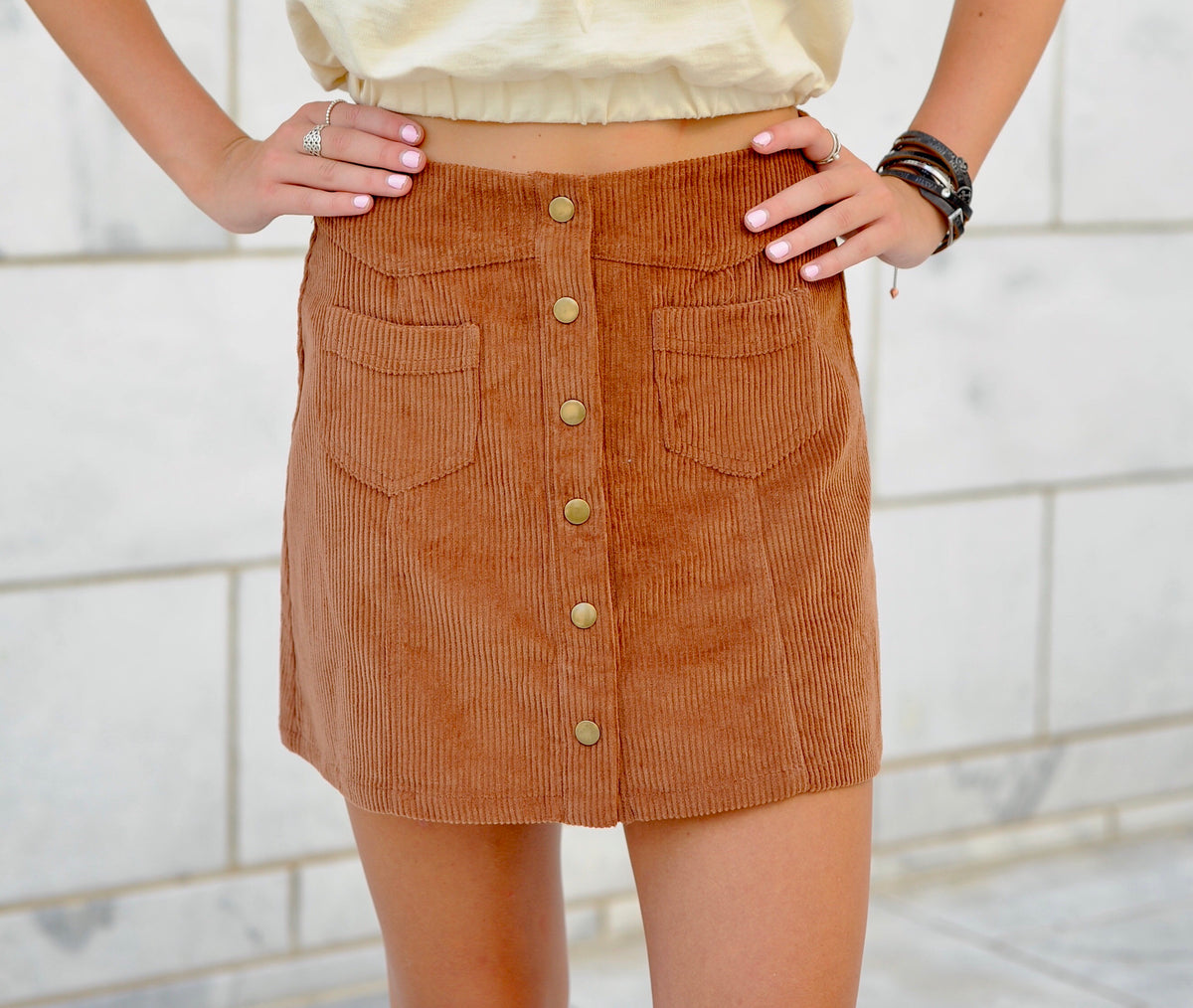 Button Up Corduroy Skirt- Brown