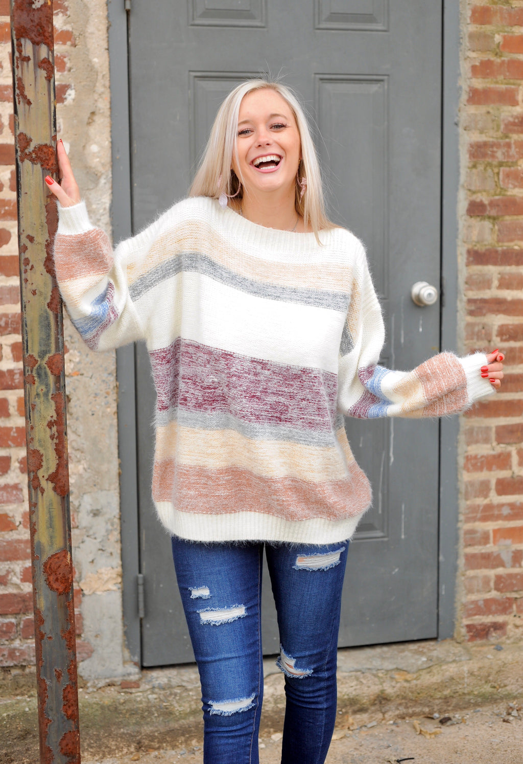 Mohair Multi Stripe Sweater - Maroon