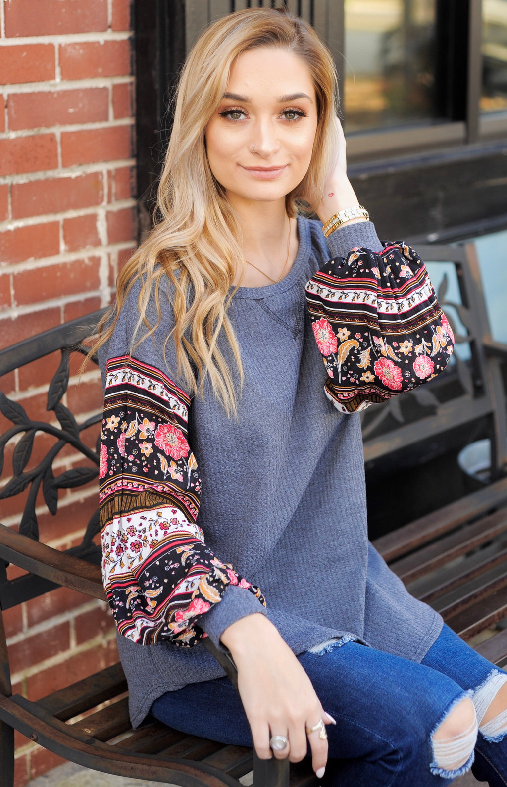 Boho Sleeve Thermal Top