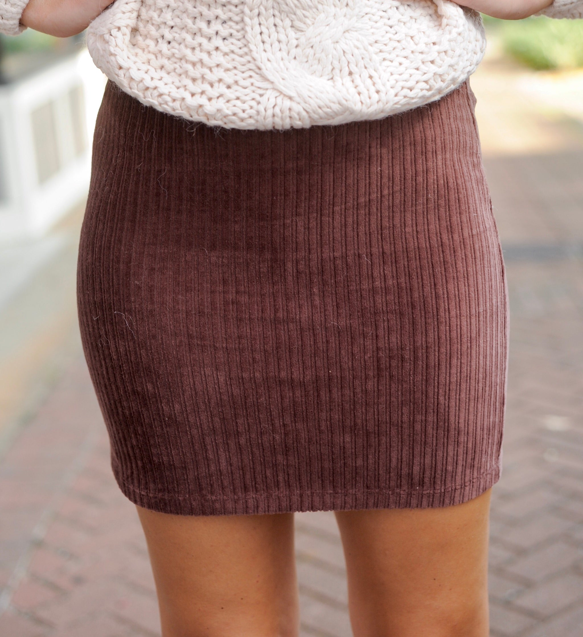 Simple Corduroy Skirt - Chocolate