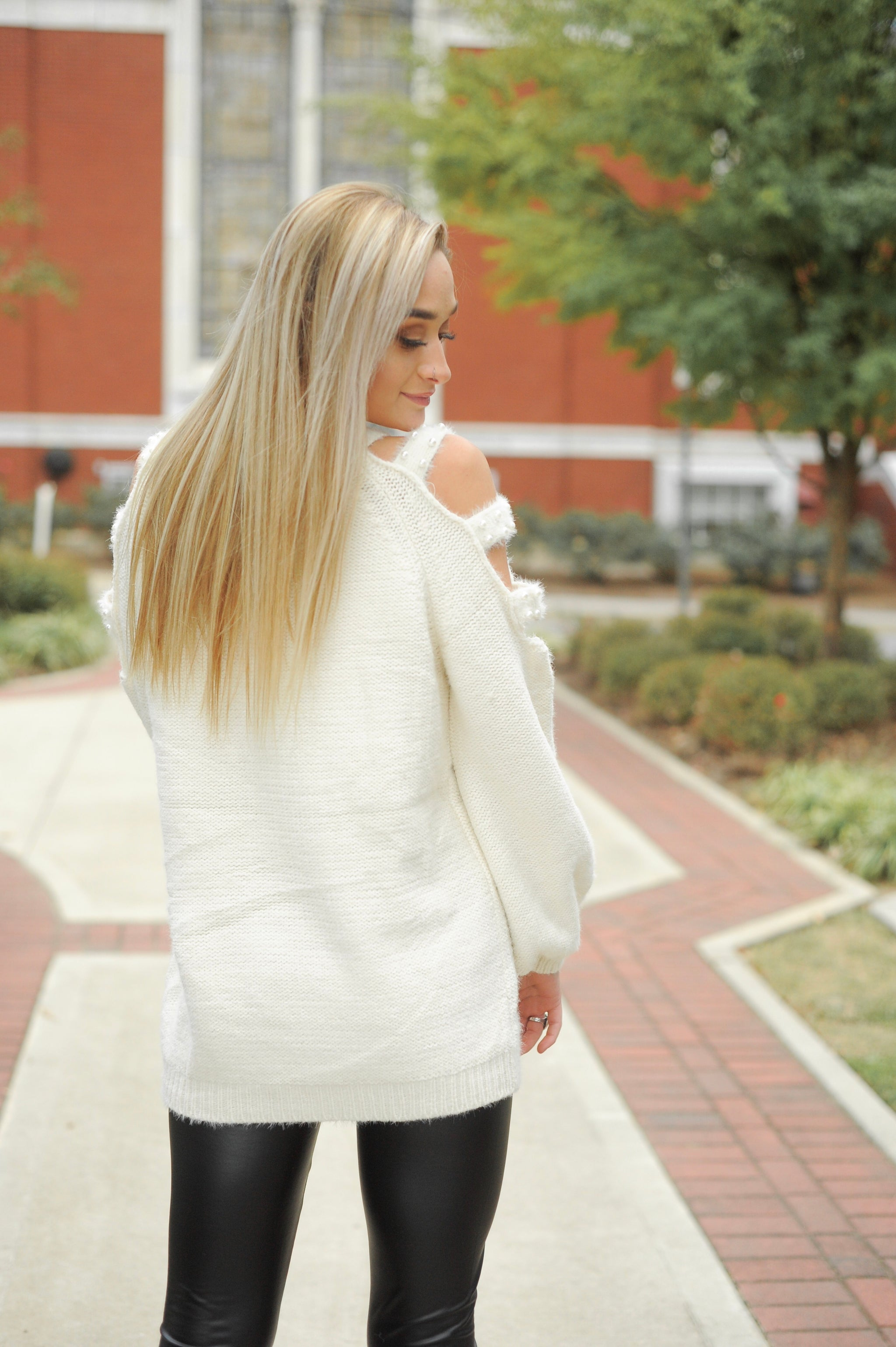 Pearl Detailed Open Shoulder Sweater