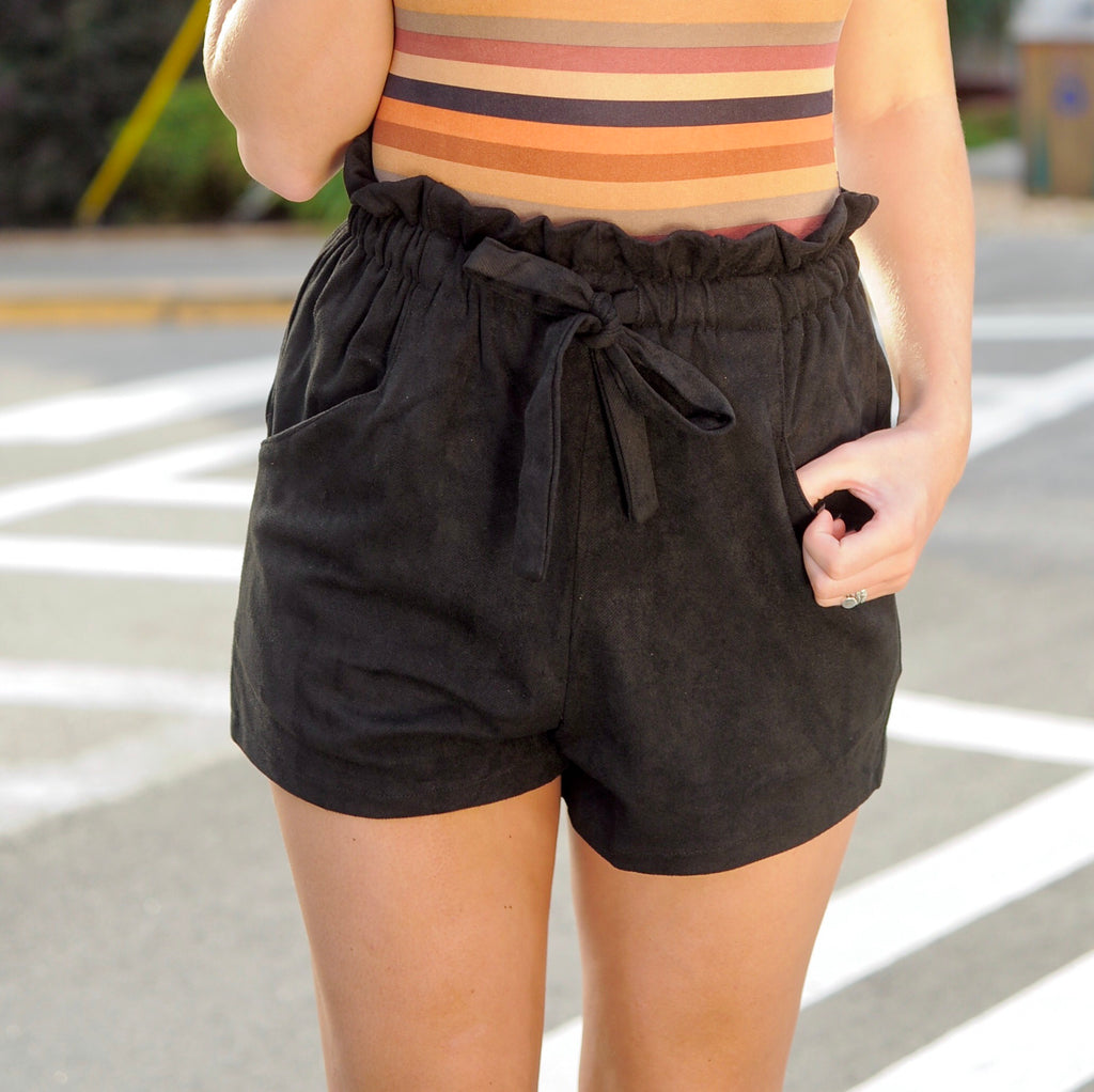 Suede Paper Bag Shorts