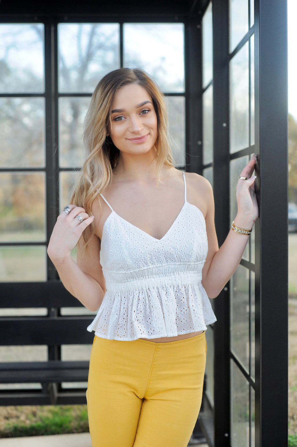Eyelet Smocked Ruffle Top