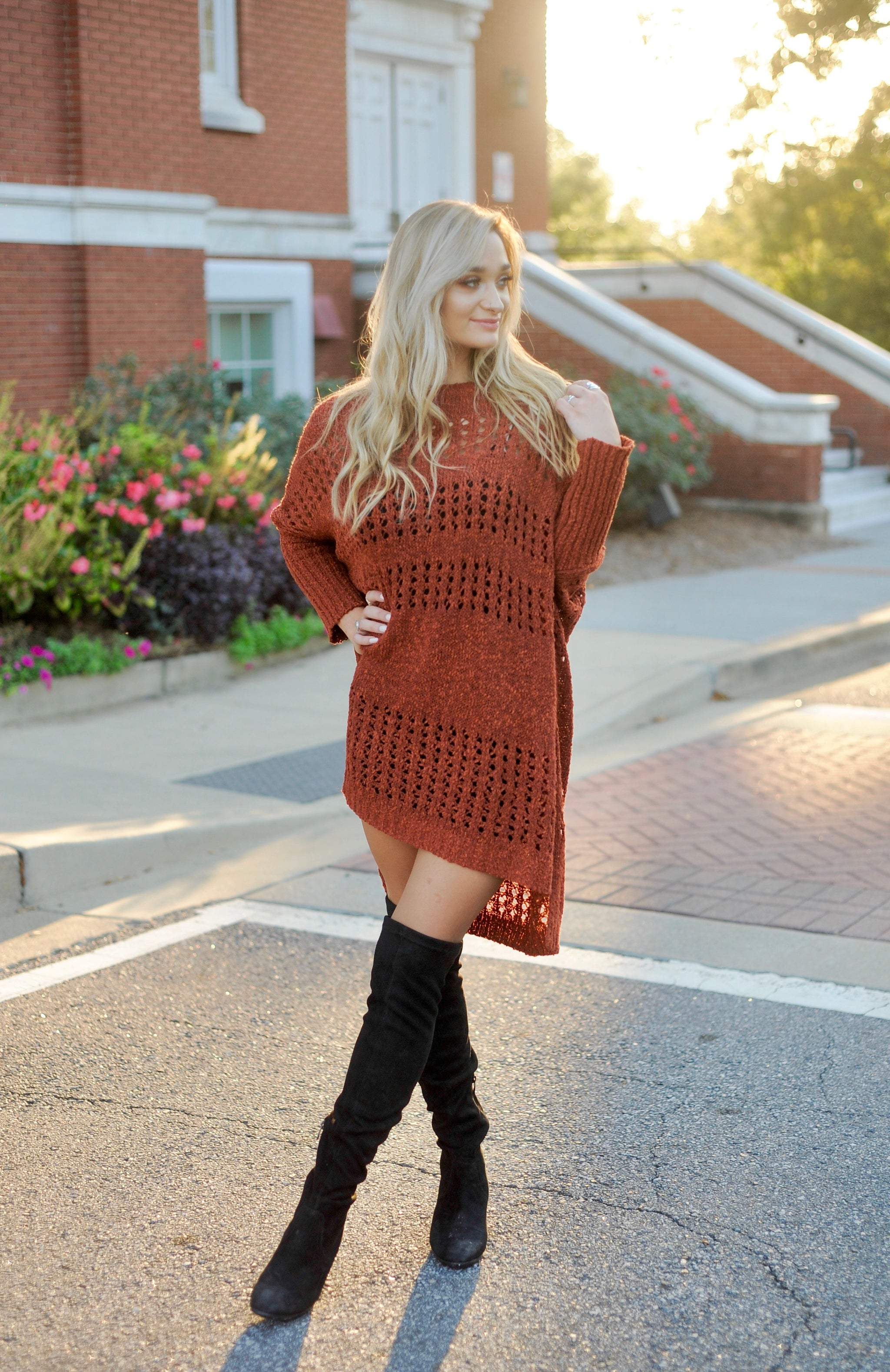 Rust Poncho Sweater Dress
