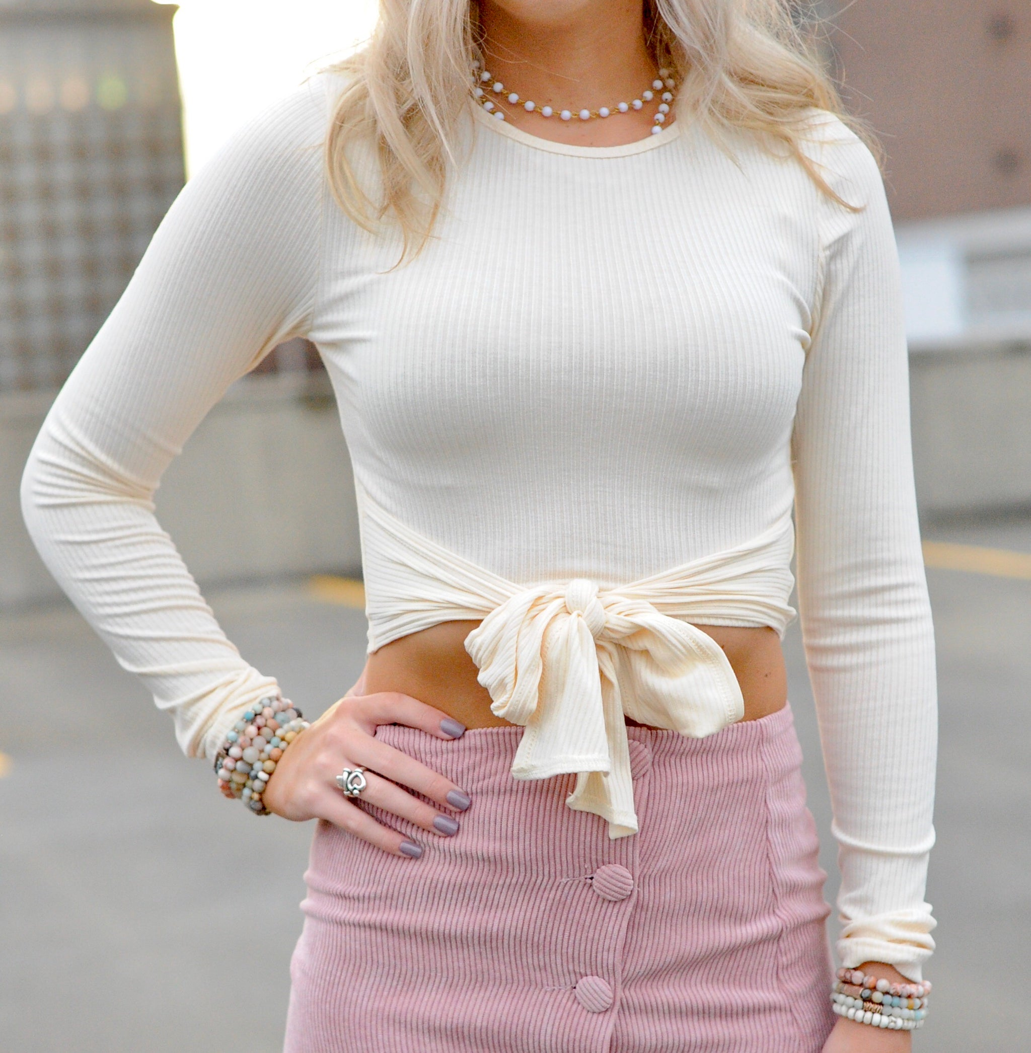 Long Sleeve Front Tie Crop Top- Cream