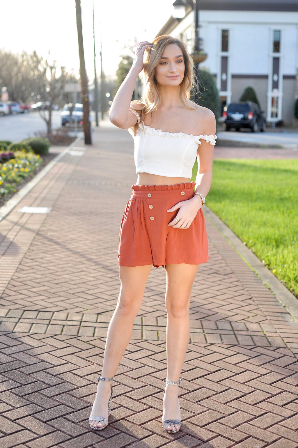 Ruffle OTS Crop Top