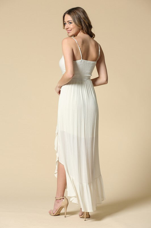 Front Tie Ruffle Maxi Dress