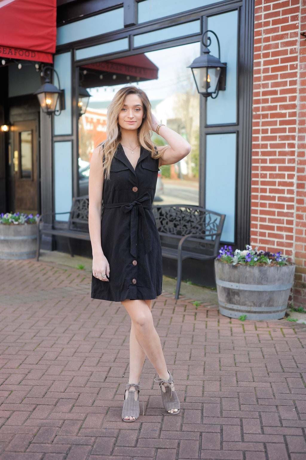 Button Down Pocket Front Dress