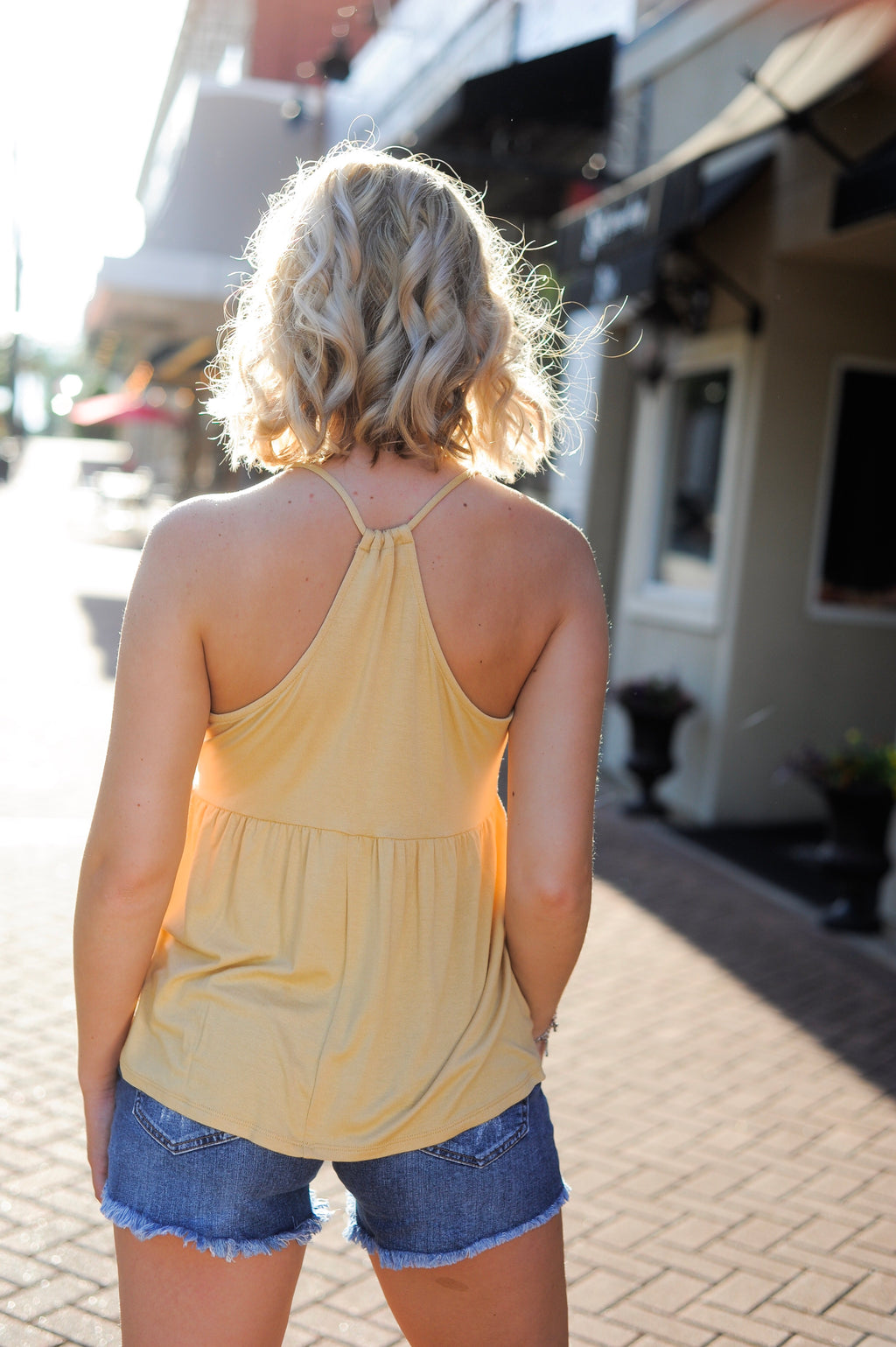 V Neck Racerback Tank Top - Yellow