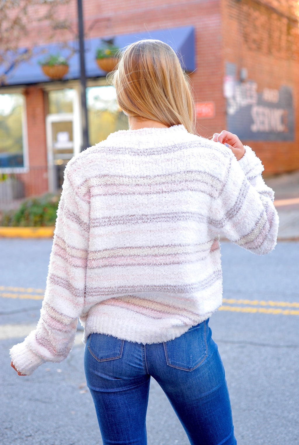 Striped Berber Fleece Pullover Sweater
