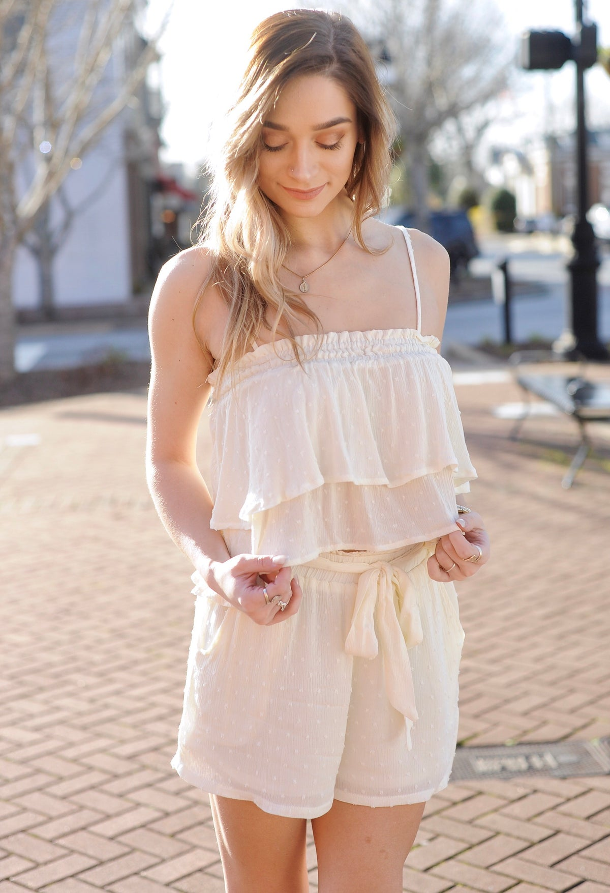 Ruffle Crop Top & Shorts Set