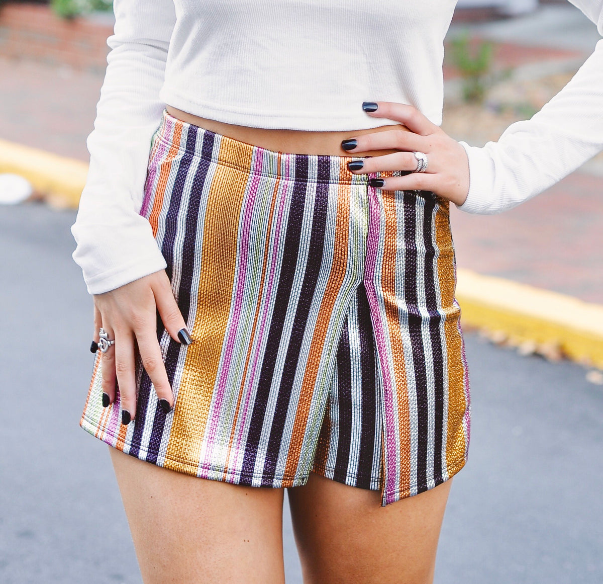 Metallic Striped Skort