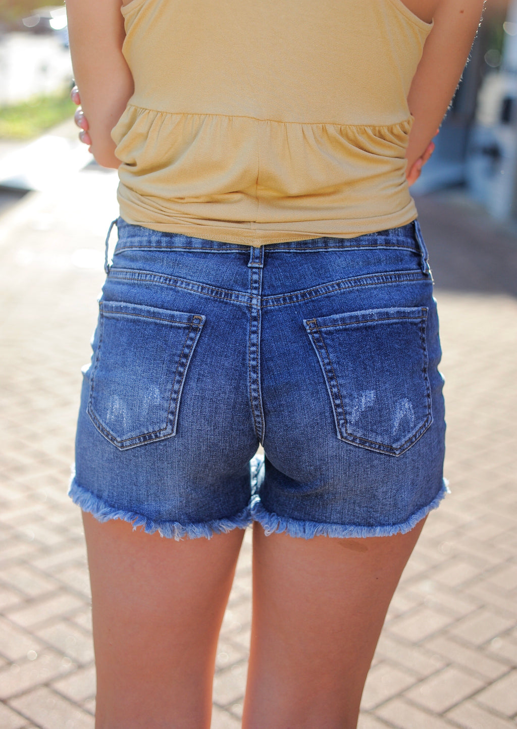 Sarah Distressed Denim Shorts
