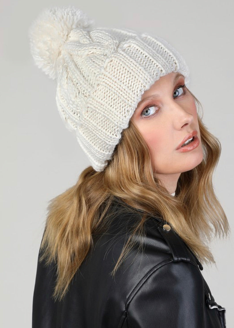 Ivory Cable Knit Beanie