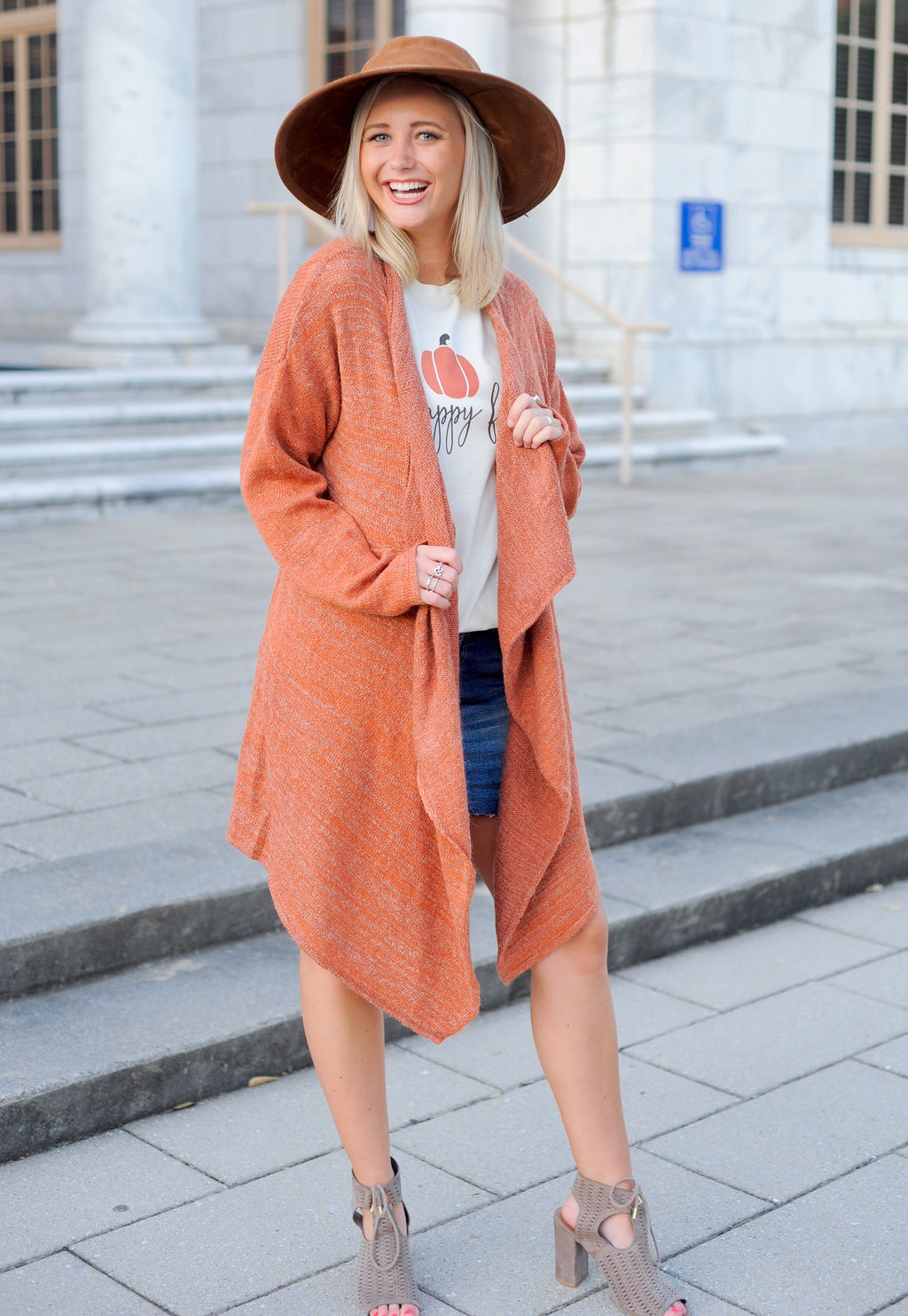 Rust Open Drape Cardigan