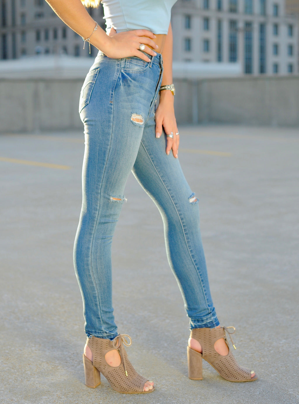 Shadow Hem Ankle Skinnies